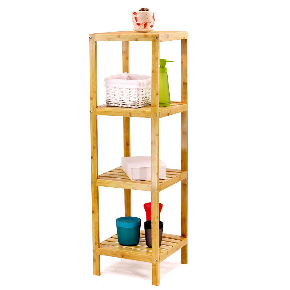 4 Tier Bamboo Storage Shelves Accessories Indoor
