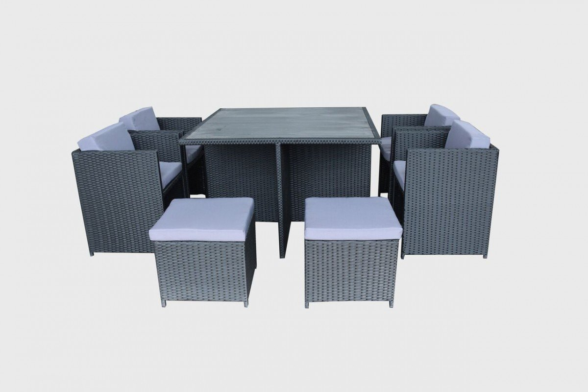 Messina 9 Piece Rattan Dining Set Compact Outdoor Furniture