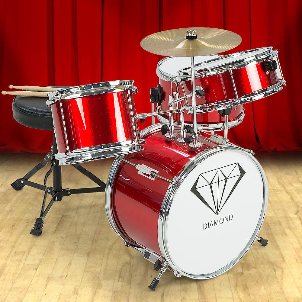 Kids 4 Piece Drum Kit Red Drums