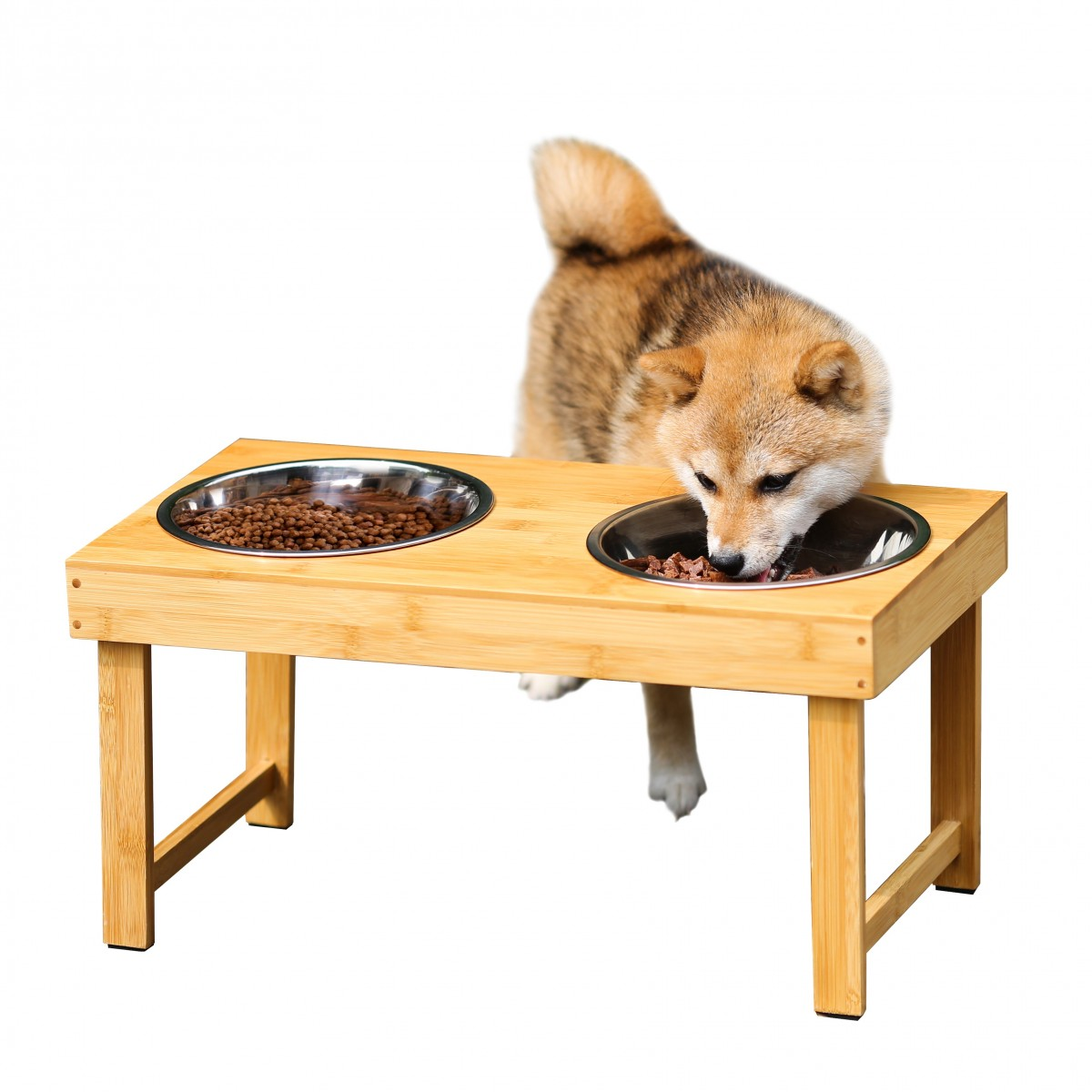 Bamboo Elevated Pet Feeder Dog Bowls Stand Stainless Steel Bowls