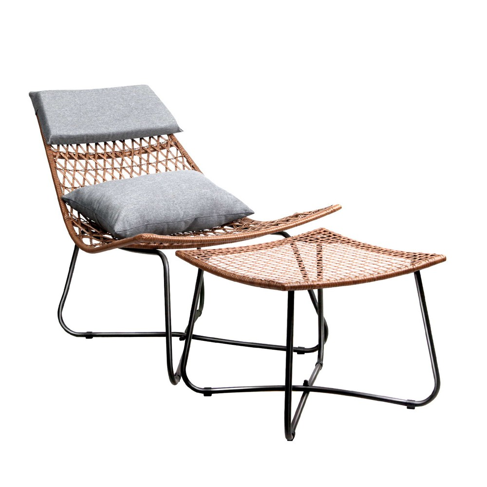 Outdoor Rattan Lounge Chair Set
