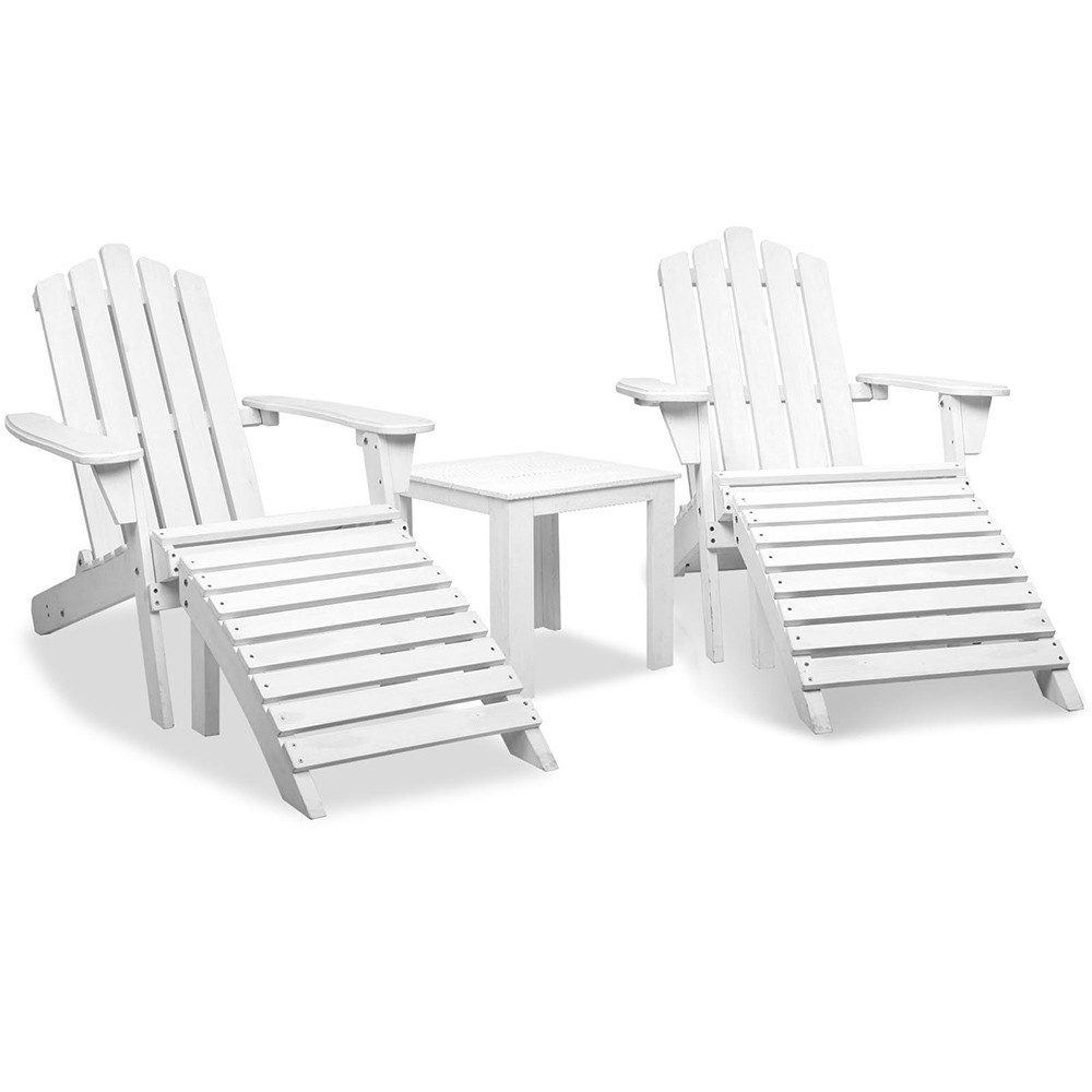 Adirondack Chairs & Side Table Set - White