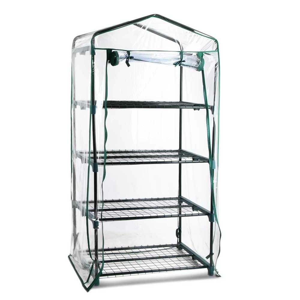 4 Shelf Greenhouse with Transparent PVC Cover