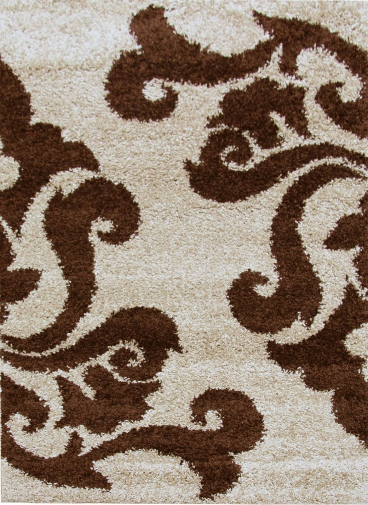 Damask Pattern Shag Rectangular Floor Rug Beige Brown