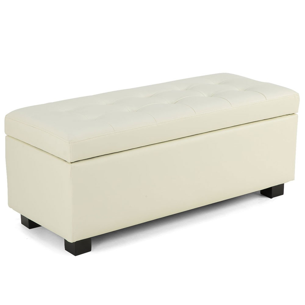 Ottomans Deacon Beige Upholstered Blanket Box: Large Ottoman Faux Leather Storage Box Footstool Chest