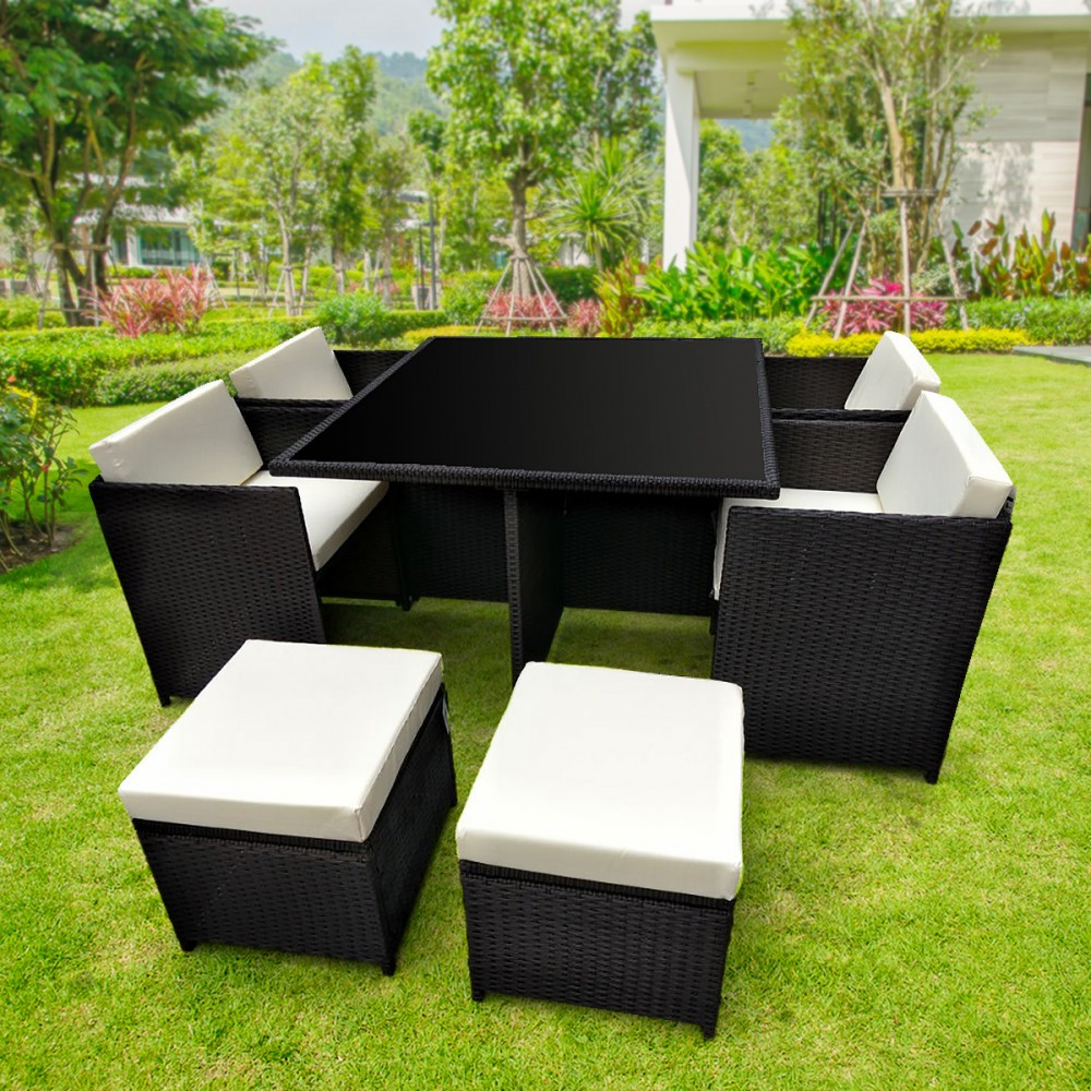 9pc PE Rattan Cube Dining Garden Outdoor Furniture Set - Black