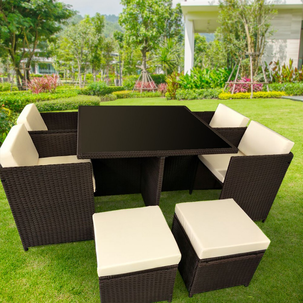 9pc PE Rattan Cube Dining Garden Outdoor Furniture Set - Brown