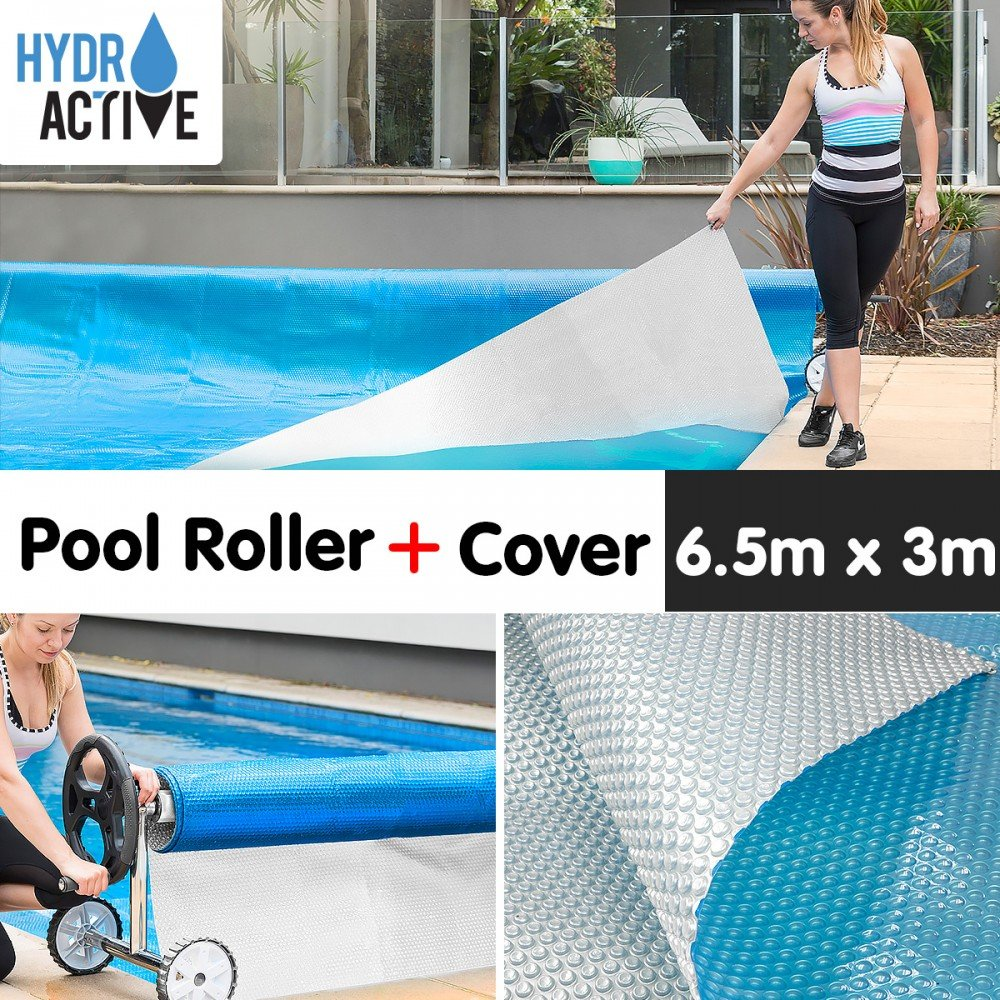 400micron Swimming Pool Roller Cover Combo - Silver/Blue - 6.5m x 3m