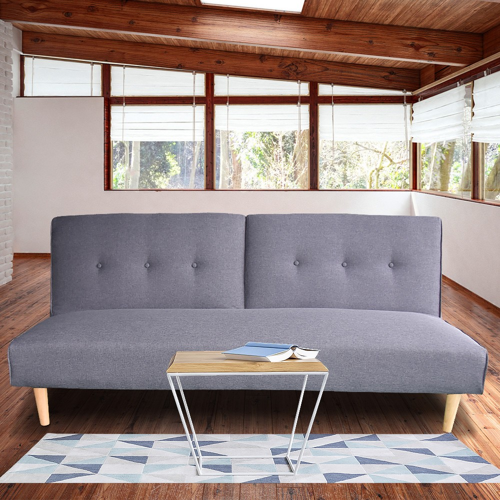 Soho 3 Seater Modular Linen Fabric Sofa Bed Couch Lounge Futon - Grey