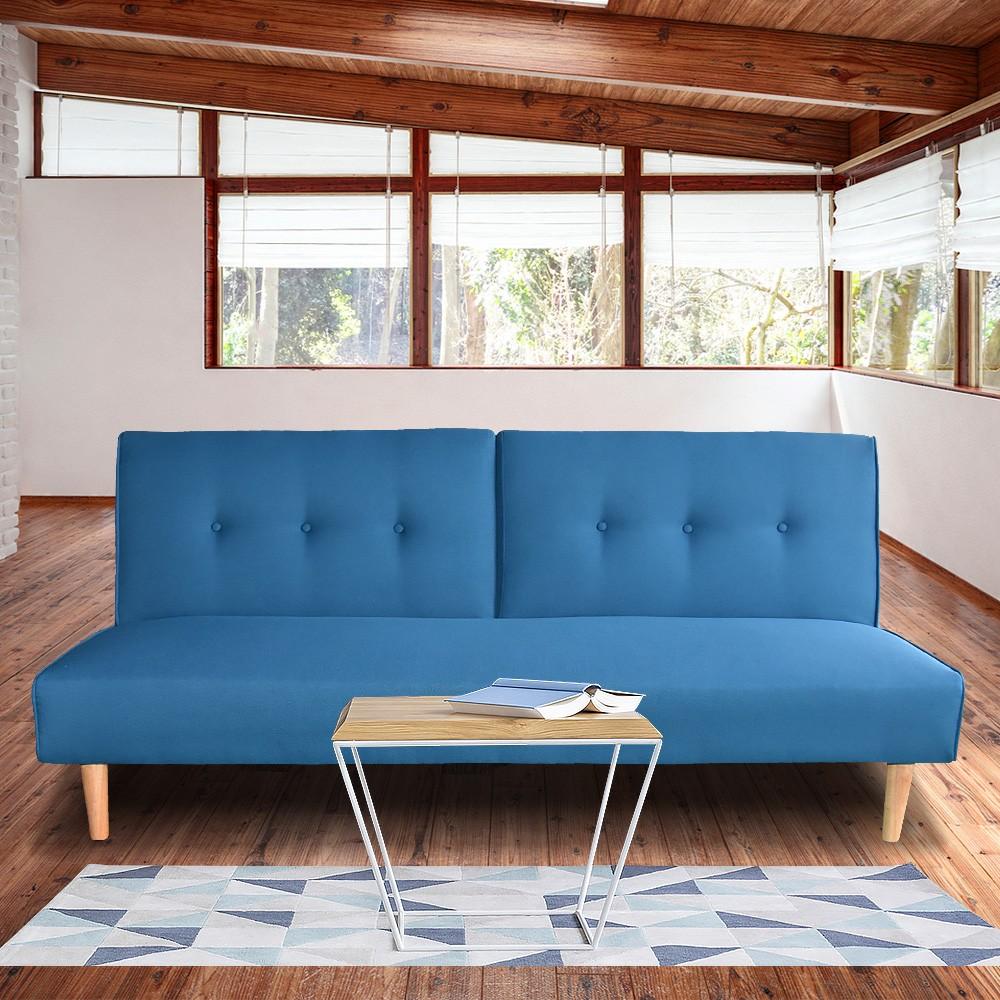Soho 3 Seater Modular Linen Fabric Sofa Bed Couch Lounge Futon - Blue