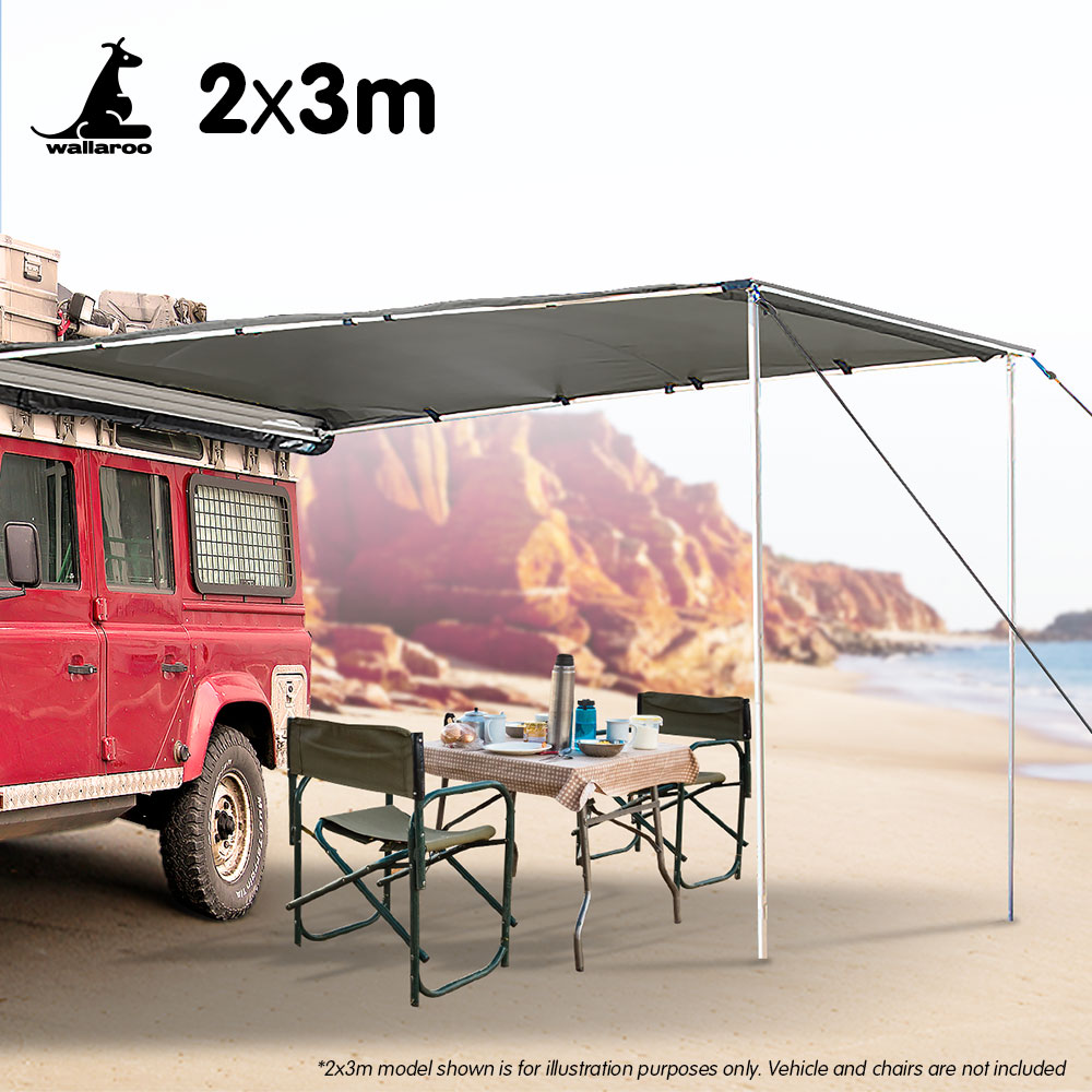 Wallaroo 2m x 3m Car Side Awning Roof Top Tent - Grey