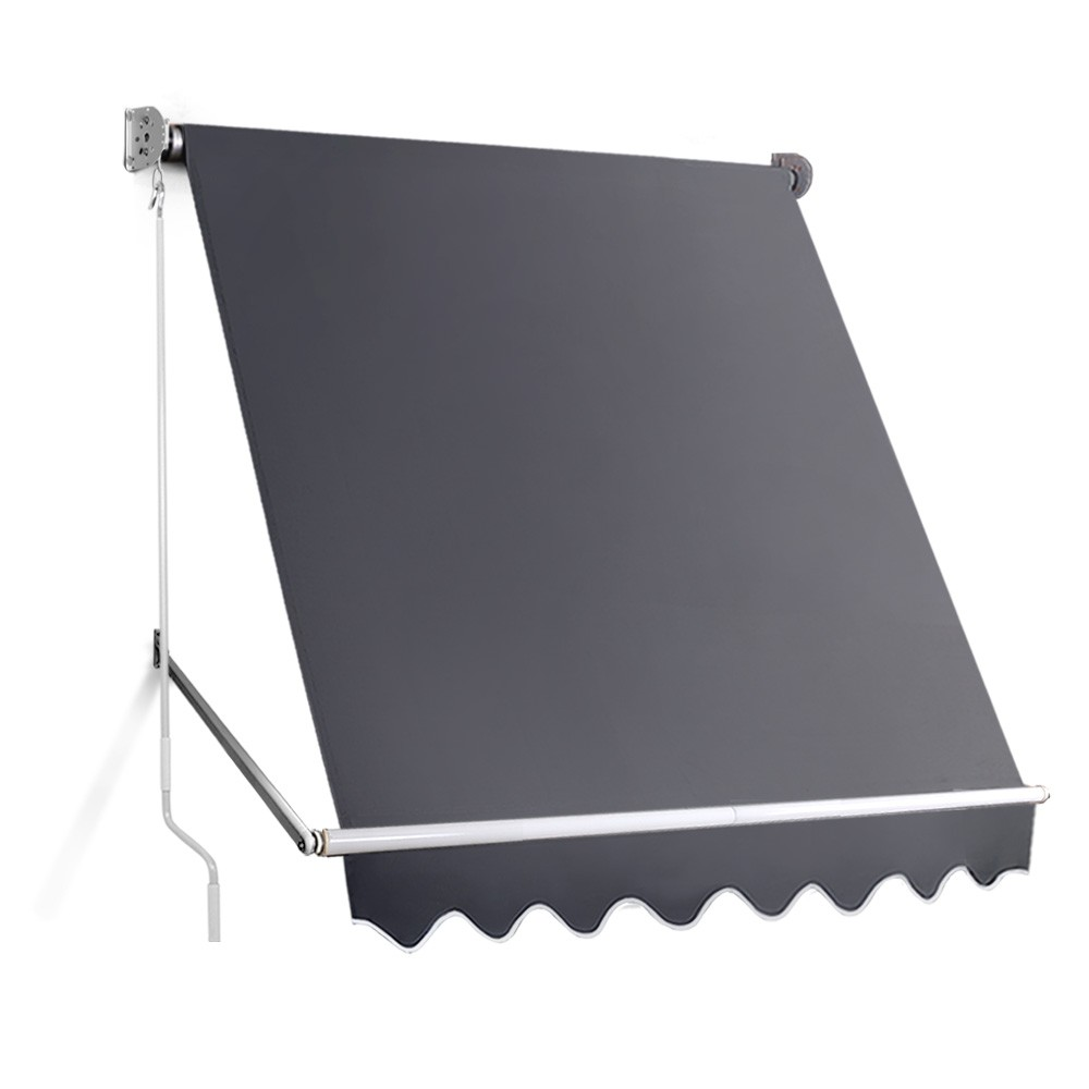 1.8m x 2.1m Retractable Fixed Pivot Arm Awning - Grey