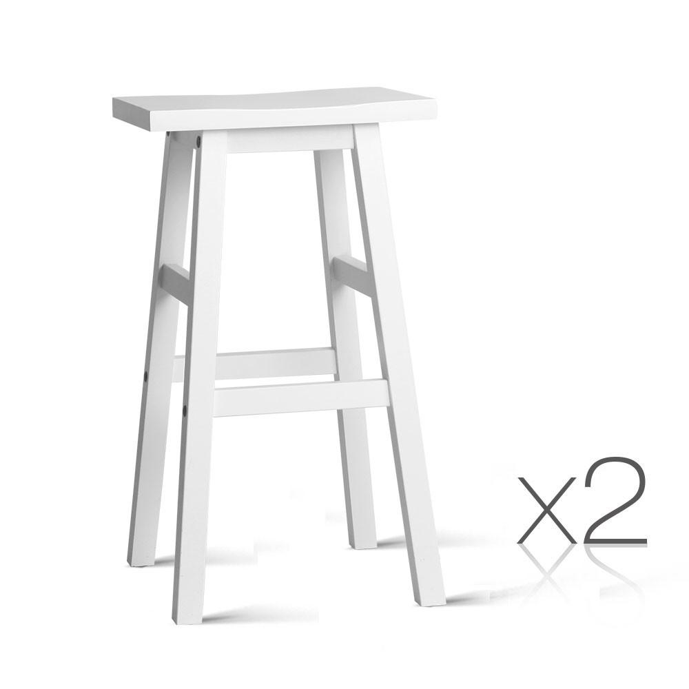 Set of 2 Wooden Bar Stool - White