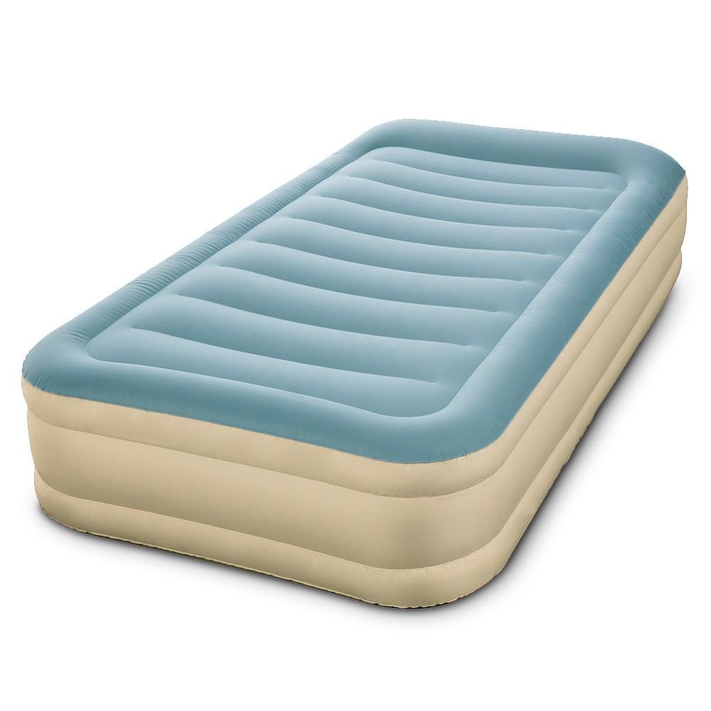 Single Size Inflatable Air Mattress - Light Blue & Beige