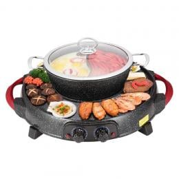 SOGA  Electric Stone Coated Grill Plate Steamboat Two Division Hotpot