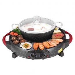 SOGA  Electric Stone Coated Teppanyaki Grill Plate Steamboat Hotpot