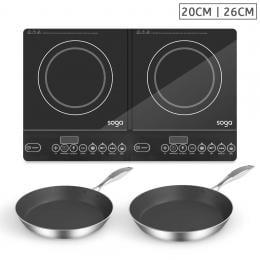 SOGA Dual Burners Cooktop Stove Induction Frying Pan Skillet