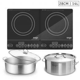 SOGA Dual Burners Cooktop Stove Induction Casserole