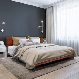 Bed Frame With Headboard Black Wood Steel Platform Bed Queen