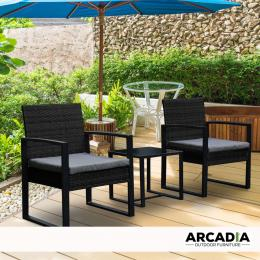 Furniture Outdoor 3 Piece Wicker Rattan Patio Set - Black and Grey