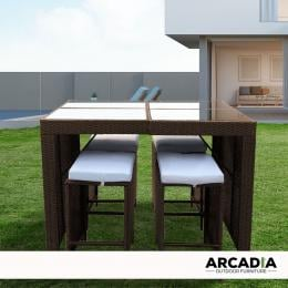Furniture Outdoor 5 Piece Bar Table Set Rattan  Oatmeal and Grey