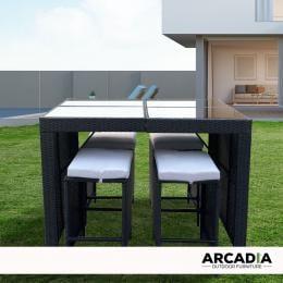 Furniture Outdoor 5 Piece Bar Table Set Rattan - Black and Grey
