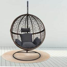 Furniture Rocking Egg Chair Outdoor Wicker Rattan  - Brown and Grey
