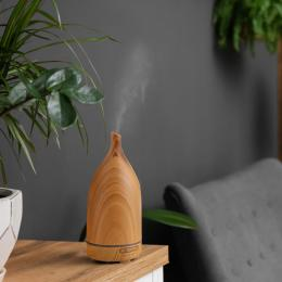 Aroma Diffuser 100ml  Humidifier Purifier And 3 Pack Oils - Light Wood