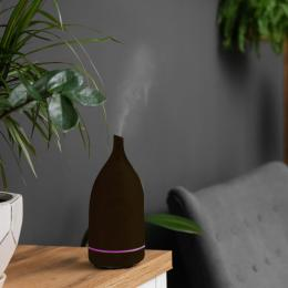 Aroma Diffuser 100ml Humidifier Purifier And 3 Pack Oils Dark Wood