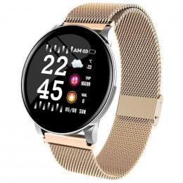 Fitness Tracker Smart Watch with Elegant Stainless Gold Band