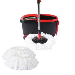 Spin Mop Bucket Set Spinning Stainless Steel Rotating Wet Dry  Black