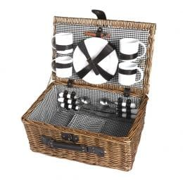 Picnic Basket Set 4 Person Willow Baskets Deluxe  Travel Camping