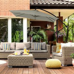 Milano 2.2M Outdoor Umbrella Cantilever Garden Deck - Grey