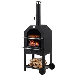 3 in 1 Charcoal Smoker BBQ Grill Portable  Steel Pizza Oven Steamer