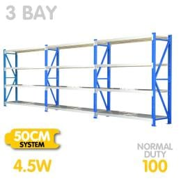 3-Bay shelving 4.5m-wide 400kg