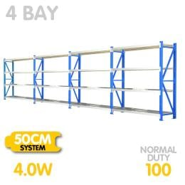 4-Bay shelving 4m-wide 400kg