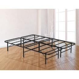 Queen Folding Metal Bed Frame Storage Platform Mattress Base Black