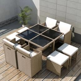 9 Piece Outdoor Dining Set With Cushions Poly Rattan Beige