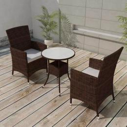 3 Piece Bistro Set With Cushions Poly Rattan Brown