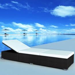 Sun Lounger With Cushion Poly Rattan Black