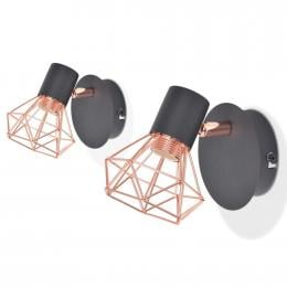 Wall Lamp 2 Pcs E14 Black And Copper