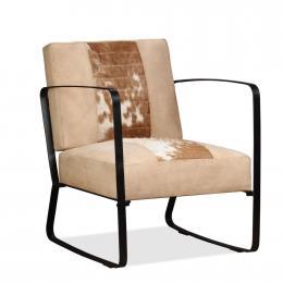Lounge Chair Cream Genuine Goatskin And Canvas