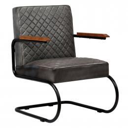 Armchair Genuine Leather 63x75x88 Cm Grey