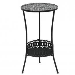 Bistro Table Vintage Style Round Metal 40 x 70cm Black