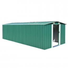 Garden Shed 257x597x178 Cm Metal Green