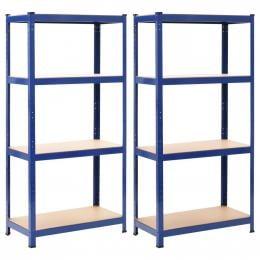 Storage Shelves 2 Pcs Blue 80x40x160 Cm Steel And Mdf