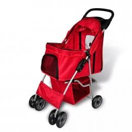 Pet Stroller Travel Carrier Red Folding