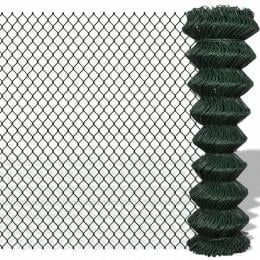 Chain Link Fence Galvanised Steel 1.5x25 M Green