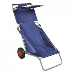 Beach Trolley With Wheels Portable Foldable Blue