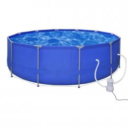 Swimming Pool Round 457 Cm With Filter Pump 530 Gal / H